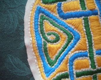 REDUCED, Hand Embroidered Appliqué, Celtic Knotwork, SCA or LARP, Vibrant Colors, Medieval Viking Motif, Handmade Supply