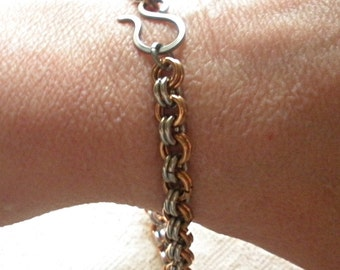 Raw Bronze and Stainless Steel Chain Mail Bracelet, Unisex Chainmaille, 2 into 2, Handmade, Gift Under 75