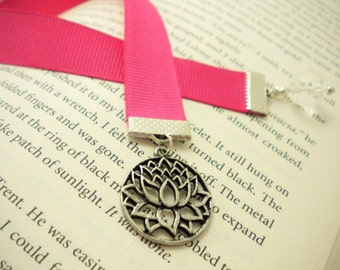 Pink Grossgrain Ribbon Bookmark with Lotus Blossom Charm / Gifts under 10 / Stocking Stuffers