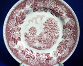 Luncheon Plate Red Transferware Old Castle Barratts Ironstone Pink Red 1940s England