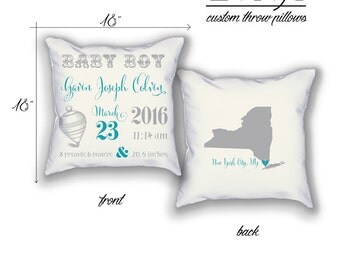 Baby Boy Birth Announcement Customizable Throw Pillow Case in Blue Colors with Birth place State City home decor, baby shower gift