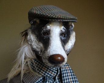 Paper mache badger mask animal head mask
