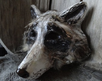 Mens masquerade mask Paper mache raccoon mask wolf mask