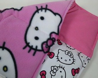 "HELLO KITTY Weighted Lap Pad ~ 18""x12"" ~ HK print w/Kitty Heads Fleece Back Weight Options"