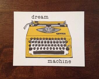 Dream Machine Postcard, writer card, typewriter post card, zinester