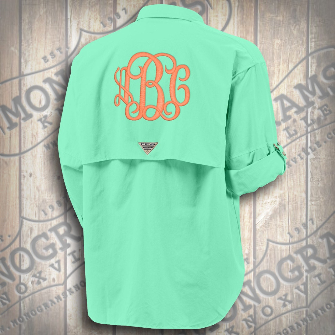 Monogrammed fishing shirt columbia pfg men 39 s aqua bahama for Monogram fishing shirt