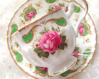 Vintage Royal Dover English Fine Bone China Tea Cup & Saucer Duo