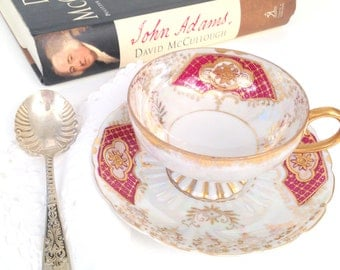 Antique Royal Sealy Japan Opalescent Victorian Inspired Tea Cup and Saucer Tea Party