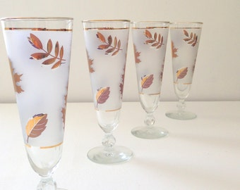 Mid Century Retro Hollywood Regency Libbey Gold Leaf Frosted Stemware / Champagne Glasses Set of 4 Foliage Pilsner