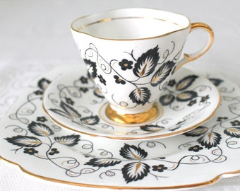 Vintage English Bone China Clarence Footed Tea Cup, Saucer and Dessert Plate Trio Hollywood Regency Gifts for Her - c. 1940's - 1960's