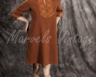 Vintage Lingerie Gossard Artemis Brown Retro Nehru Flannel Short Robe Cover up Dressing Gown Dress Loungewear 70s Size Small