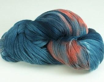 Hand Dyed Lace Merino Wool Blue Coral Orange Denim 2431