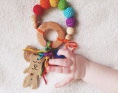 Baby teething ring rainbow rattle Waldorf toy with handmade animal or tree pendant - choose your own - whale, bear, tree