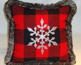 """Platinum Leather Snowflake Pillow with Ralph Lauren Wool, Platinum/Gray Fringe and Black Velvet Back. 12"""" x 12"""" w/Down Fill (In Stock)"""