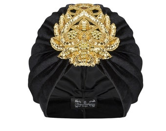 Gloria Velvet Turban in Gold