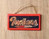 CLEVELAND INDIANS Script Feather Mini Canvas Ornament