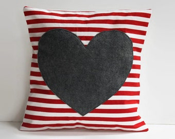 heart pillow cover // decorative pillow // heart applique striped pillow // 12 inch pillow cover // red heart pillow // heart shaped pillow