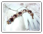 Juliana Vintage Set - Irridescent Copper Art Glass Bracelet and Earrings  D&E  Demi-822a-052409045