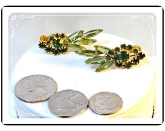 Vintage Juliana Earrings - Shades of Green Rhinestone  Clips  D&E 045a-090412031