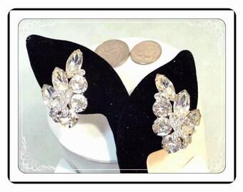 Signed Eisenberg Earrings - Vintage Clear Rhinestone Swoosh -  E118a-030813010