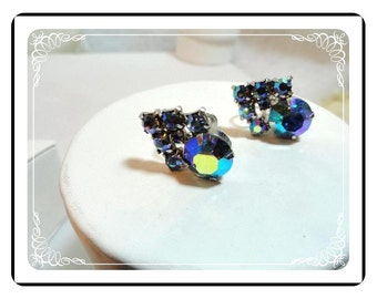 Keyes Signed  Earrings - Aurora Boealis Blues  Rhinestone Clips  E507a-071812000