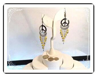 Peace Pierced Earrings in Silver Tone - Yellow Bead Shoulder Dusters    E803a-081412000