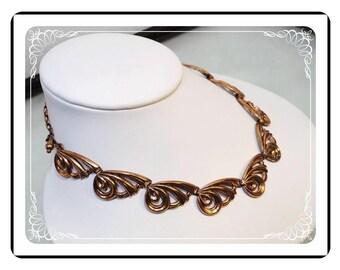 Signed Renoir Necklace - Vintage Copper Modernist   -   Neck-1645a-121012000