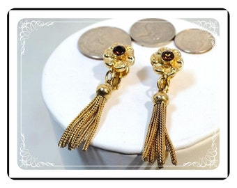 Accessocraft Vintage Earrings - Gold Tone w Golden Amber Glass Rhinestone Flower   - E156a-022313000