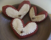 Set Of Three Primitive Valentine Hearts Bowl Fillers/Tucks
