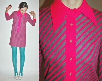 1960s MOD Striped Neon Pink Shift Dress