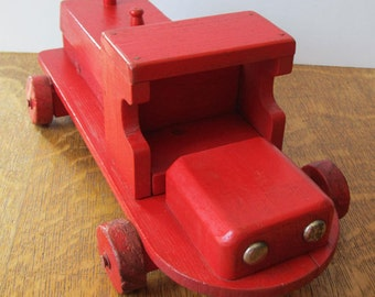 Vintage Red Truck, Handmade Wooden Toy, Gorgeous! OOAK, c.1980, Moves Beautifully