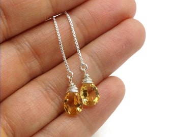 Silver threader earrings with yellow citrine