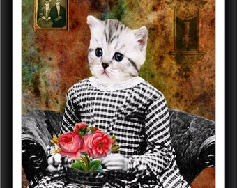 Cat In A dress-Downloadable Vintage  Art Print