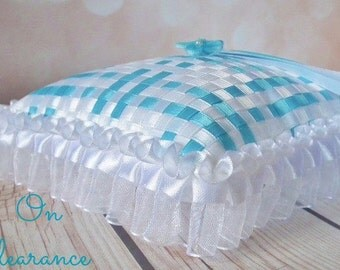 AQUA and WHITE ring pillow, blue turquoise and white satin pillow, beach wedding pillow, aqua ring bearer cushion, on clearance