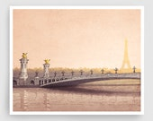 Pont Alexandre III - Paris illustration Fine art illustration Art Poster Paris art Architecture Paris decor Travel poster Wall art Cityscape