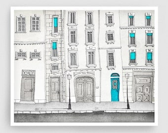 The magic door - Paris illustration Art Illustration Print Poster Paris decor Art Print Home decor Kids wall art Paris facade Blue Turquoise