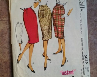 Vintage 1950's McCall's Lady's Pencil Skirt Sewing Pattern Waist 26 Hip 36 |Number 5049