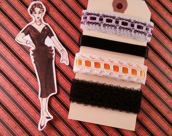 Beautiful Vintage Halloween Ribbon Trim Assortment   4 Yards   Embellishments   Vintage Lace