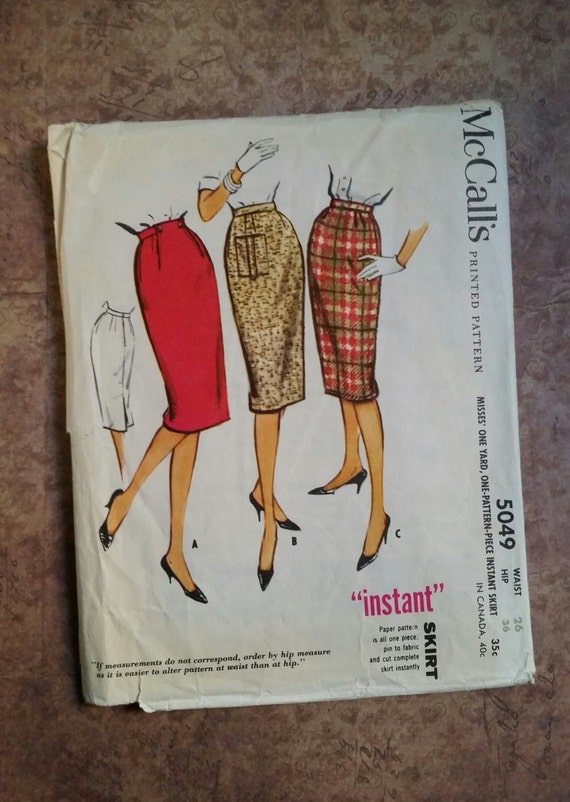 vintage 1950 s mccall s s pencil skirt sewing
