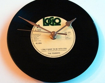 "THE TOURISTS Vinyl Record Wall Clock "" I Only Want To Be With You"" made from a recycled 7"" single. Great Valentines or anniversary gift men"