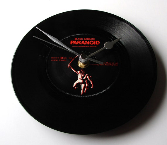 """BLACK SABBATH """"Paranoid"""" Vinyl Record Clock. A recycled original 7"""" record Great gift for heavy metal rock fans boyfriend brother dad buddy"""