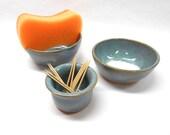 Kitchen Set, Wedding Gift, Salt Bowl, Pinch Pot, Nut Bowl, Ring Dish, Pottery Sponge Holder and Toothpick Holder in Blue