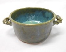 Pottery Crock, Pottery Soup Bowl, French Onion Soup Bowl, Ceramic Crock, Pottery Baking Dish, Small Casserole, in Blue and Green