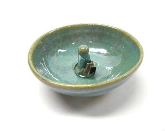 Pottery Ring Holder, Blue Ceramic Ring Dish, Pottery Trinket Dish, Ceramic Jewelry Holder, Pottery Jewelry Dish, Gift for Her in Blue