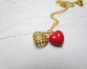 sale- tiny silver heart necklace -Pink heart Necklace, Glass -Crystal Jewelry,Gold tone heart necklace-valentines