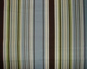 SALE!! Blue Chocolate Brown Green and Cream Ivory Stripe Quilting Weight Fabric