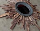 LG Mid Century Modern Wood Starburst Mirror, Natural Walnut Wood Wall Art MADE to ORDER
