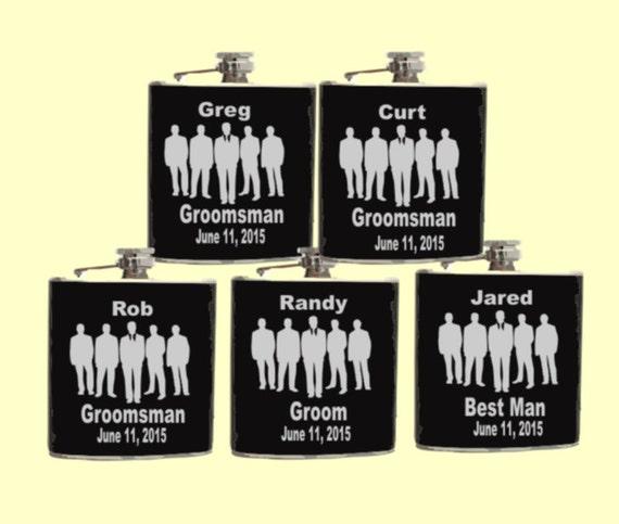 5 groomsmans flask, grooms flask,5 wedding flask, mans flask, wedding party flask, party flask, hip flask,