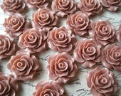 Rose Cabochons, 6 pcs 20mm Dusty Rose Resin Flower Cabochon, Perfect for Bobby Pins, Rings, Earrings