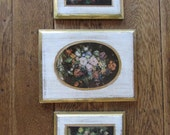 Set of Three Vintage Florentine Gold Gilded Wood Pictures, Made in Italy, Wall Plaque Pictures